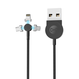 Cable 3in1 CORE magnetic USB – Lightning + USB-C + microUSB 1.0 m 2.5A black with data transfer