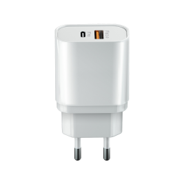 Wall charger CORE 2x Type-C PD+QC3.0 (20W) white