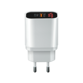 CORE 2x Type-C PD+QC3.0 Wall charger with display (20W) white