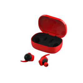 Bluetooth 4Sport TWE-300 Earphones with a charging case red