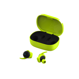Bluetooth 4Sport TWE-300 Earphones with a charging case green
